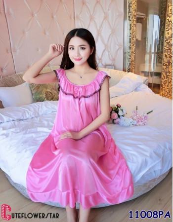 ชุดนอนผู้หญิง กระโปรงยาวน่ารักสีชมพู สไตล์โมเดิร์น 11008PA