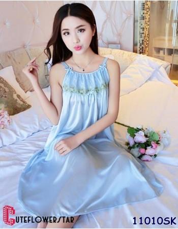 ชุดนอนน่ารักสีฟ้า ดีเทลความเก๋ ไม่เหมือนใคร สุดน่ารัก 11010SK